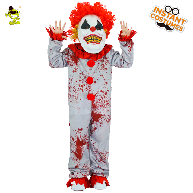 boys evil clown costumes halloween masqurade party bloody buffon role play outfit children grim killer disguise