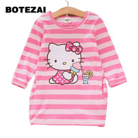 2017 Autumn Girls Dress Hello Kitty Cartoon Kids Dresses For Girl Clothes 3 7Y Children Vestidos