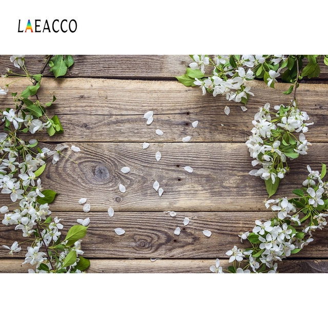 Laeacco Blossom Flower Petal Wooden Board Photography Background Vinyl Baby Pet Doll Decorate Photographic Backdrop Photo Studio