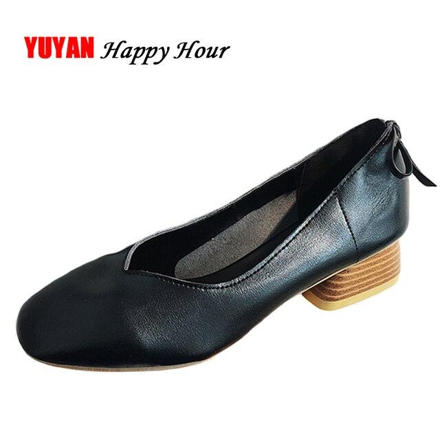 3e5af40ae6cd New 2018 Fashion Brand Shoes Women High Heels Round toe Elegant Black Shoes  Women s Pumps Ladies Brand Thick Heel 5cm ZH2694
