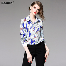 High Quality Women Fashion 2019 Runway Designer Shirt Long Sleeve Blouse Tops Printed Vintage Shirts Blusas Mujer De Moda