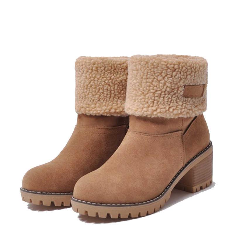 """2018 Mới Giày Bốt Nữ Mùa Đông Ủng Sang Trọng Ấm Nữ Giày Nữ Plus Kích Thước Cao Gót Vuông Nữ Người Phụ Nữ Botas mujer """"WSH3133"""