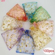 100 шт./лот 15x20 см сердце бронзовая органза мешки для ювелирных изделий, популярные сумки большие мешочки из органзы сумки из органзы Свадебные сувениры 7ZSH327
