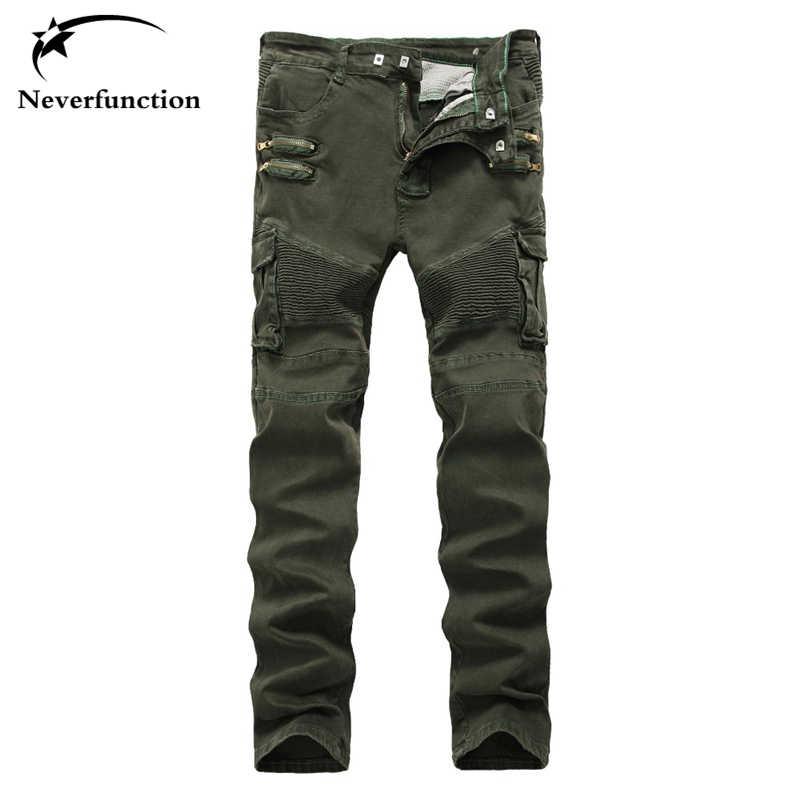 Мужские обтягивающие рваные байкерские джинсы на молнии с несколькими карманами, брюки-карго, зеленые военные хип-хопмэны, плиссированные джинсы-карандаш для езды на мотоцикле