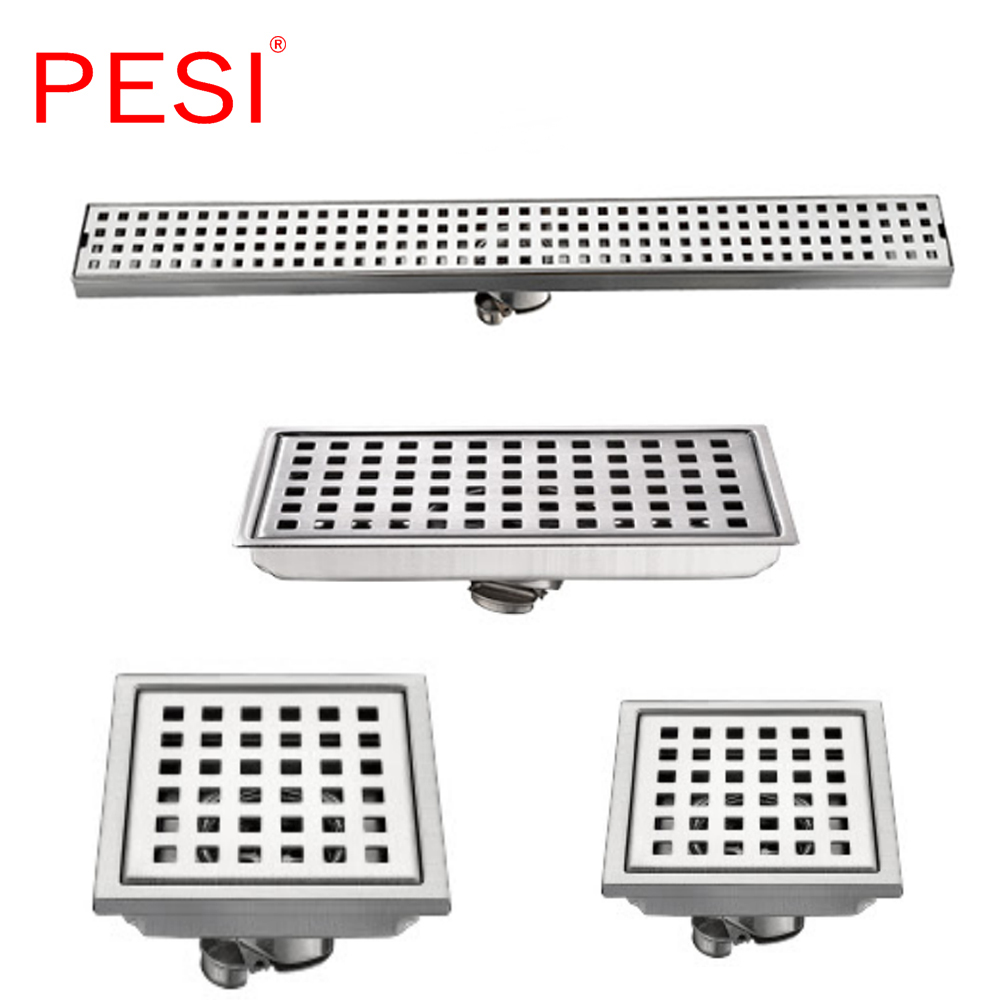 304 Stainless Steel 60/30/15/11cm Linear Anti-odor Long Floor Drain Bathroom Invisible Shower Floor Drain, Wholesale, Brushed.