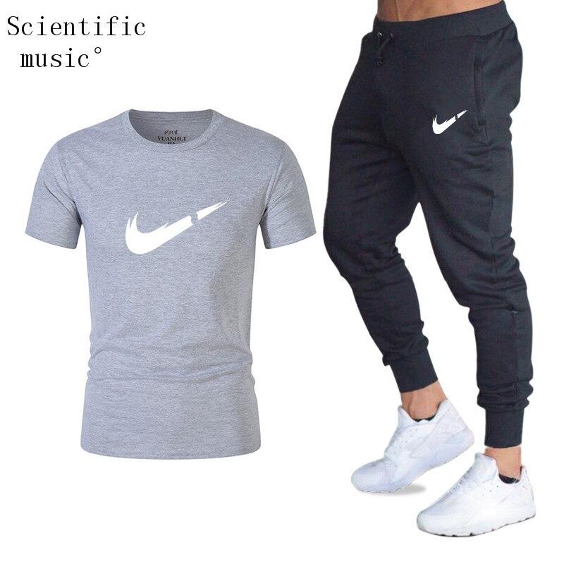 Qualität männer Sets T Shirts + hosen männer Marke kleidung Zwei stück anzug trainingsanzug Mode Casual T shirts Turnhallen Workout fitness Sets
