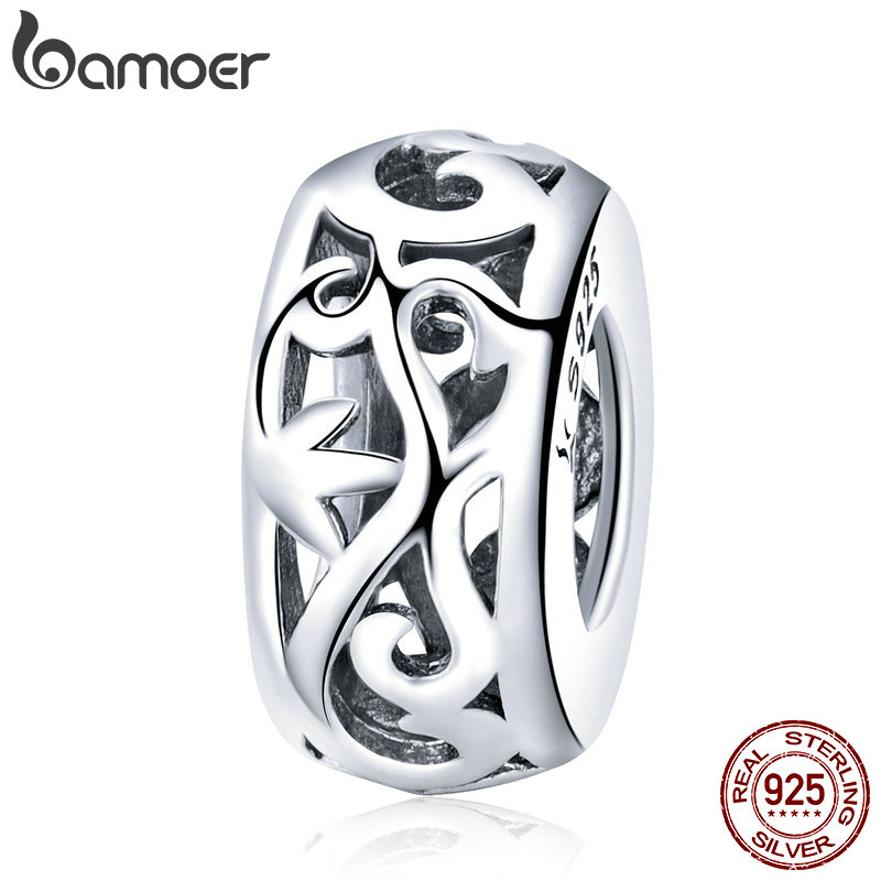 BAMOER Genuine 925 Sterling Silver Retro Curling Grass Pattern Beads fit Bracelets & Necklace DIY Accessories Jewelry SCC716 цена