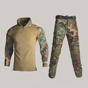 Image 2 - BDU taktyczny kamuflażowy mundur wojskowy ubrania garnitur mężczyźni usa odzież wojskowa Airsoft wojskowa koszula bojowa + spodnie Cargo ochraniacze na kolana