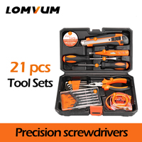 LOMVUM 21Pcs Tools Hand Tools Household Multifunction Hardware Tool Disassembling Repair Kit Box PortableHand Tool Sets