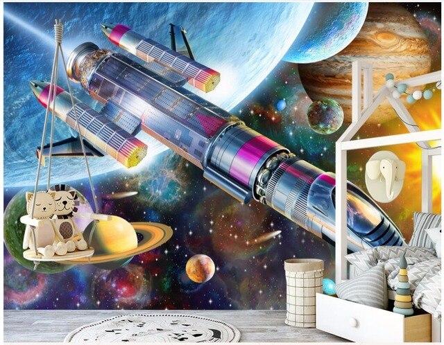 Custom Photo 3d Wallpaper Modern Cartoon Space Rocket Childrens Room Home Decor Wall Murals