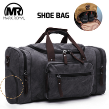 Купить с кэшбэком MARKROYAL Canvas Warehouse Travel Bags Men Duffle Shoe Bags Teenagers Crossbody Bags Large Capacity Handbag Weekend luggage Bags