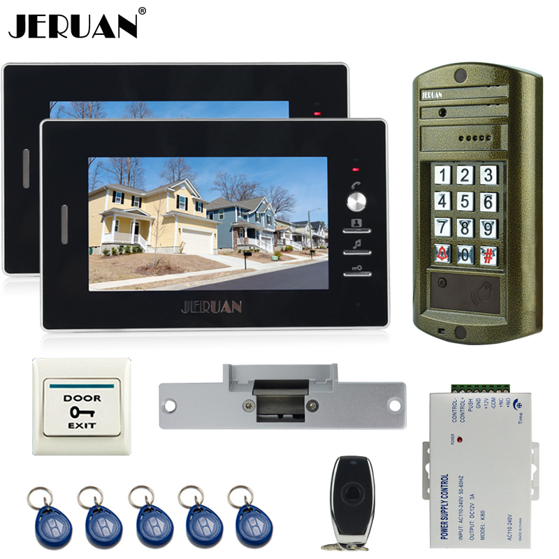 JERUAN Wired Home 7 inch TFT Video Intercom Door Phone System kit Metal panel waterproof password keypad HD Mini Camera 1V2 jeruan home 7 inch video door phone intercom system kit new metal waterproof access password keypad hd mini camera 2 monitor