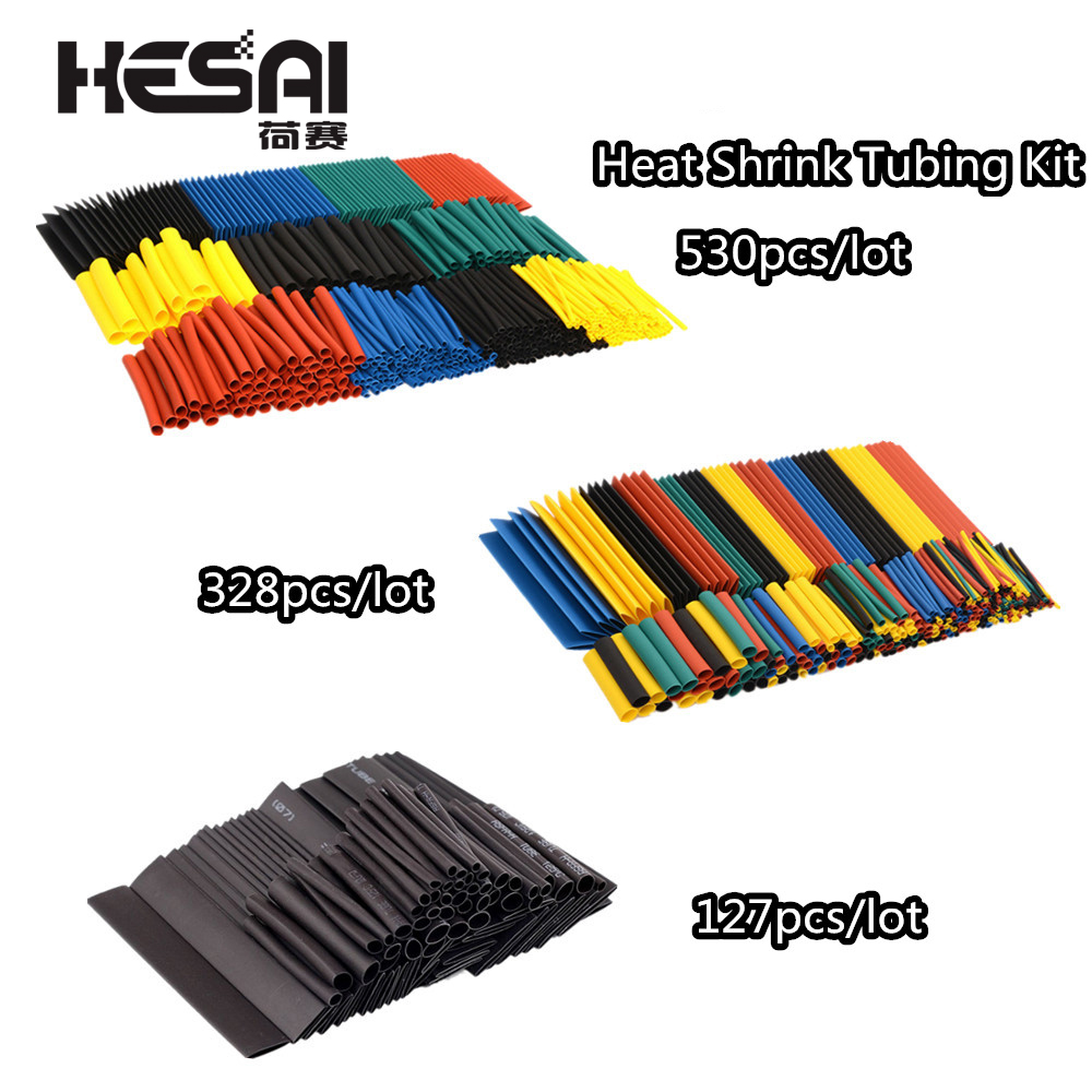 127pcs/lot Heat Shrink Tubing 7.28m 2:1 Black Tube Car Cable Sleeving Assortment Wrap Wire Insulation Materials  DIY Kit 328pcs(China)