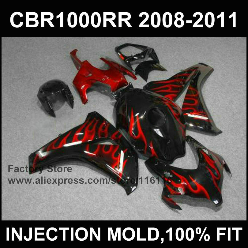 RED flame fairing kit for HONDA DREAM CBR 1000 RR 2008 2009 2010 2011 Injection molding fairings 08 09 cbr1000 rr 10 11 12 arashi motorcycle radiator grille protective cover grill guard protector for 2008 2009 2010 2011 honda cbr1000rr cbr 1000 rr
