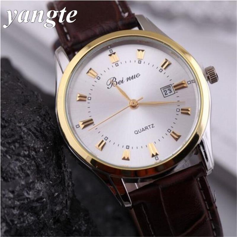 YANGTE Watches Men Luxury Quartz Watches Leather Watch Casual Wristwatch Male Clock Relojes Hombre Relogio Masculino AB741