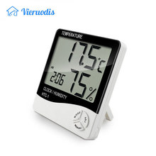 2019 New Indoor Room LCD Electronic Temperature Humidity Meter Digital Thermometer Hygrometer Weather Station Alarm Clock HTC-1 цена