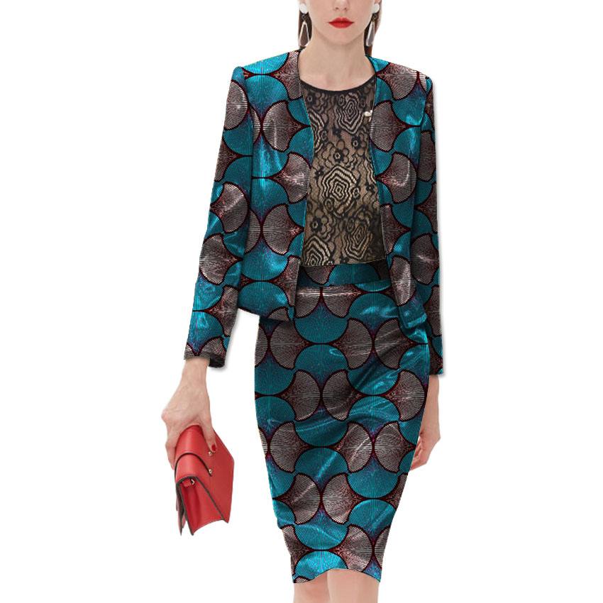 2018 New Fashion African Women Colthing Made Wax Open Tops+Skirts Sets Ladies Suits Two  ...