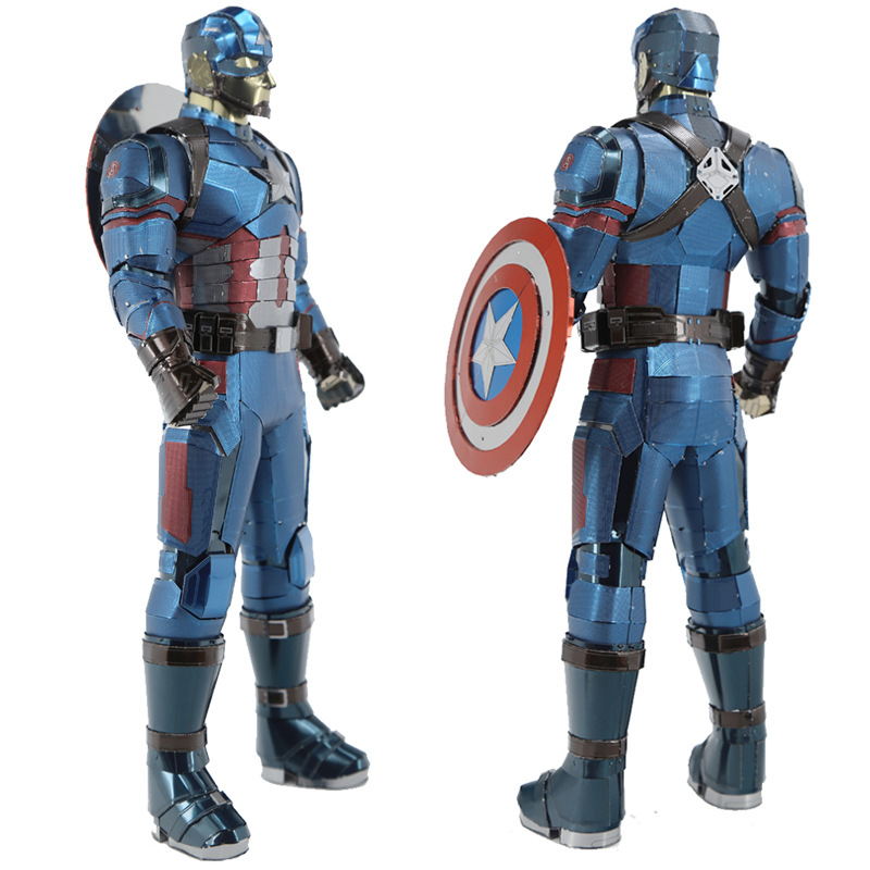 Customized Big Size Captain America 3D Metal Model Kits DIY Assemble Puzzle Jigsaw Building Toy for