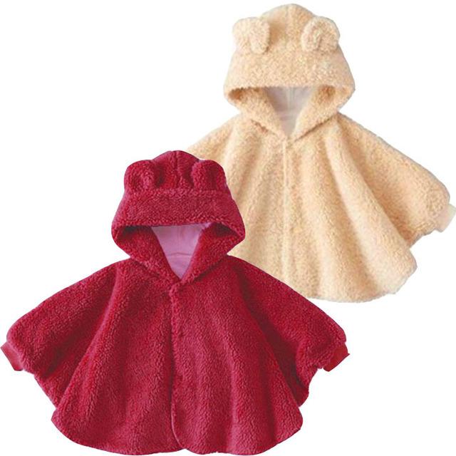 Envío de la Alta Calidad Del Algodón Del Bebé Oso Manto Bebé Capa de Invierno Chales de Bebé Recién Nacido Infantil Del Bebé Outwear Chaqueta de la Capa Roja