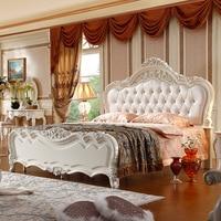 2017 new design leather bed 150cm or 180cm wood frame with resin carve flower