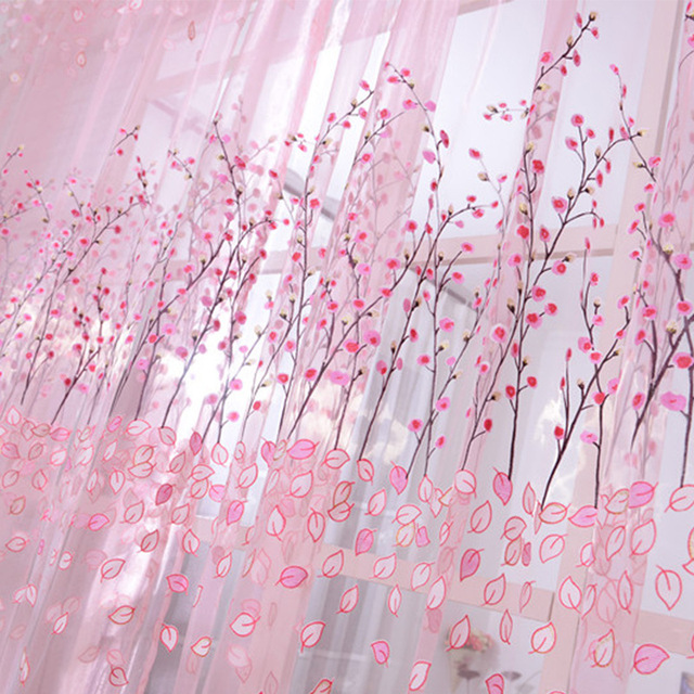 Modern Wintersweet Burnout Window Screen Curtain for Living Room Tulle For Window Kitchen Textiles Yarn Curtain bedroom Finished