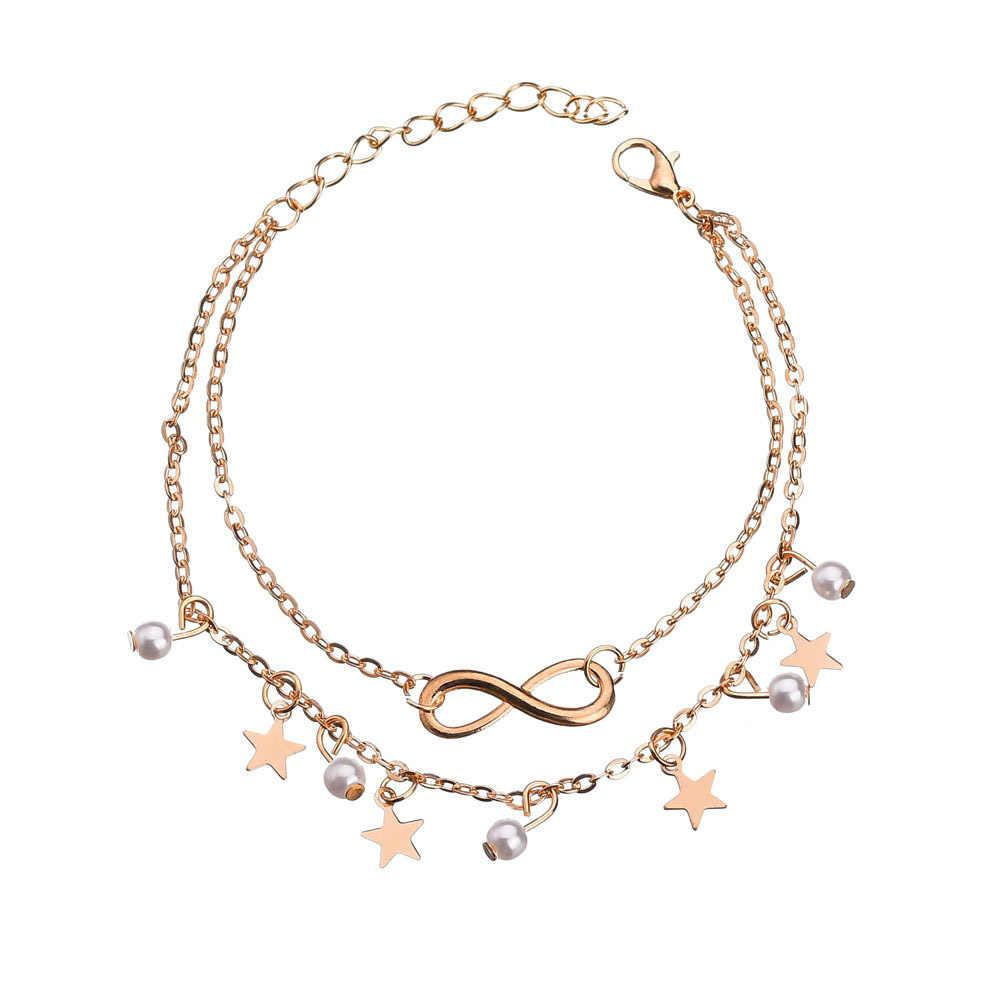 Европейский и американский модный Богемский ретро индивидуальный кисточкой Звезды лодыжки браслет женский Простой Привлекательный сексуальный лодыжки браслет