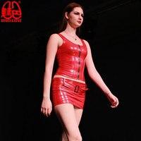 Sexy Women PVC Shiny Short Tank Tops PVC Leather Zipper Bandage Short Vest Tops Punk Stage Crop Top Vest Plus Size F63