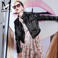 Модная женская кожаная куртка из натуральной лакированной кожи