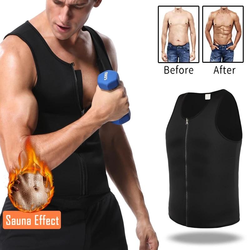 Men Weight Loss Sauna Vest Sweat Shirt Fat Burning Body Shaper Gym Training Top