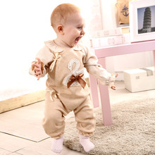 0~12 Month lace Baby Boy Girl Clothes Natural  Colored Organic Cotton Brand Baby Clothes Pajama Long Sleeve Rompers A0069