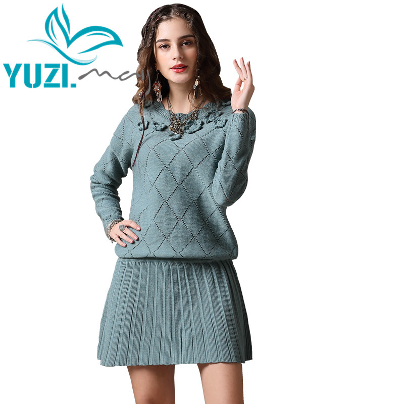 1ff1902d79b Detail Feedback Questions about Winter Dress 2018 Yuzi.may Boho New Cotton  Wool Dresses Female O Neck Long Sleeve A line Vintage Sweater Dress A82166  ...