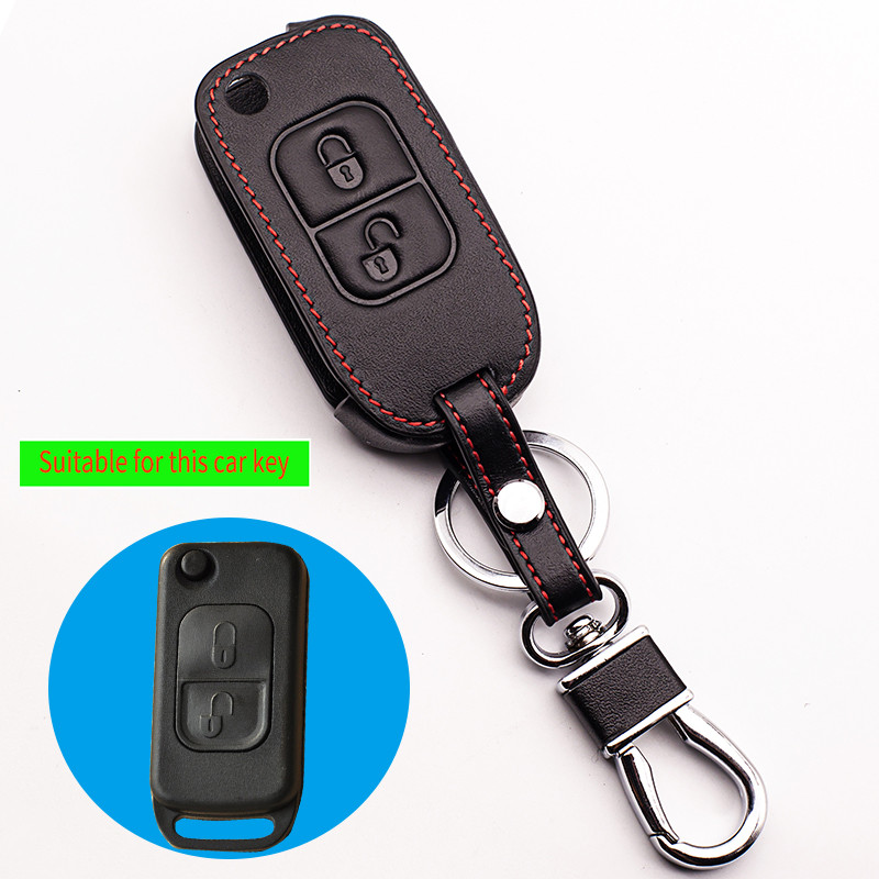 Top layer leather Genuine Leather car key cover For Mercedes Benz E113 A C E S D05 W202 W203 W168 car keys accessories shell