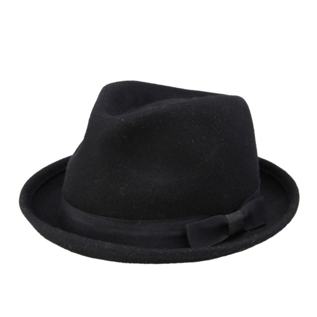 New Fashion Winter Autumn Women Wool Black Fedora hat For Laday Felt Trilby  Hat Gangster Panama Sun Hat 3b58c307692f