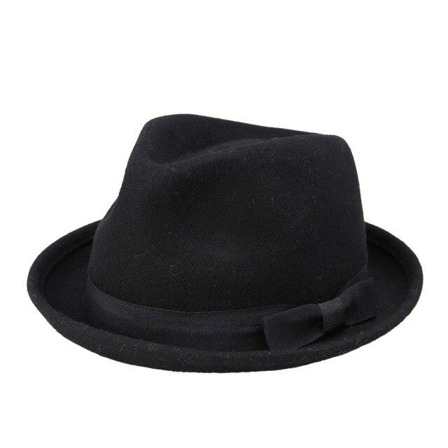 Nova Moda Outono Inverno Mulheres Lã chapéu Fedora Preto Para Laday Feltro  Trilby Gangster Chapéu Panamá 2e20330c29a