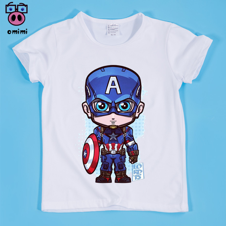 Kid Captain America Cartoon Print T-shirt Boy and Girl Ironman/batman/The Flash/Superman/Hulk Superhero T Shirts Baby Clothing