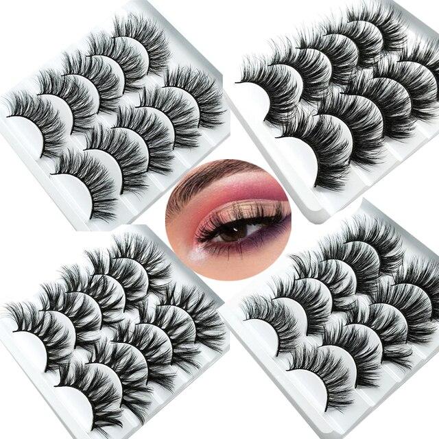 HBZGTLAD 1/5 pairs natural false eyelashes fake lashes long makeup 3d mink lashes eyelash extension mink eyelashes for beauty