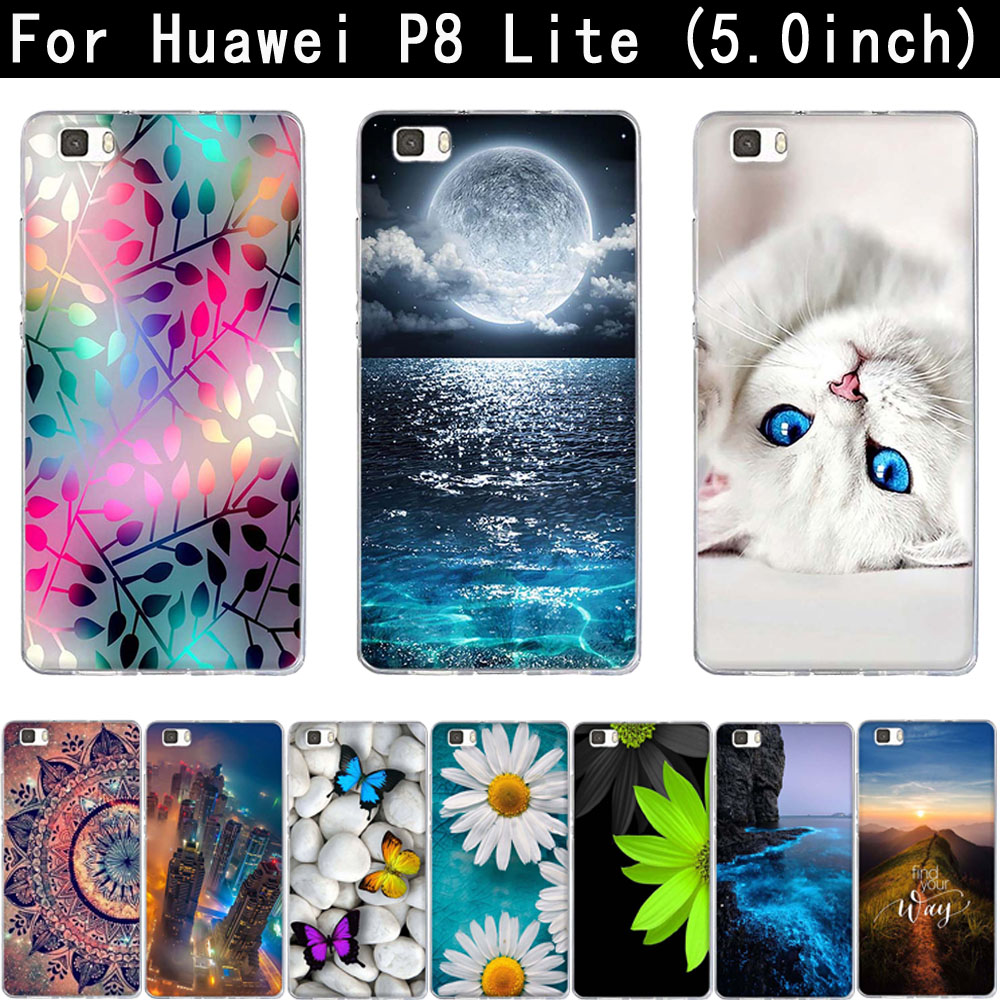 For Coque Huawei P8 Lite 2016 5.0'' Case Silicone TPU Cover 3D Cat Bag For Huawei Ascend P8 Lite 2015 P8Lite ALE-L21 Phone Cases image