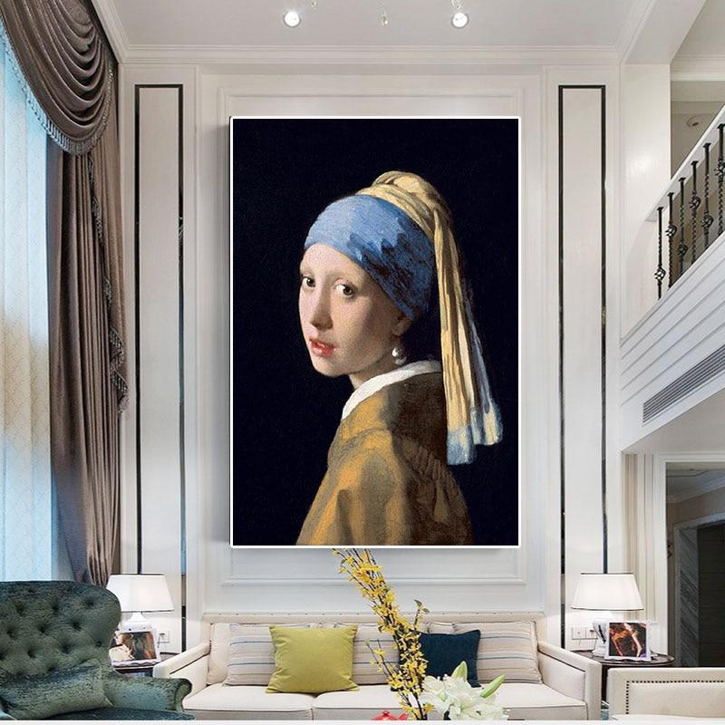 Chica con un pendiente de perla reproducción pintura al óleo póster impresiones arte de pared escandinavo imagen para sala de estar Arte clásico reproducción artista Magritte el beso carteles e impresiones lienzo arte pintura cuadros de pared para la decoración del hogar
