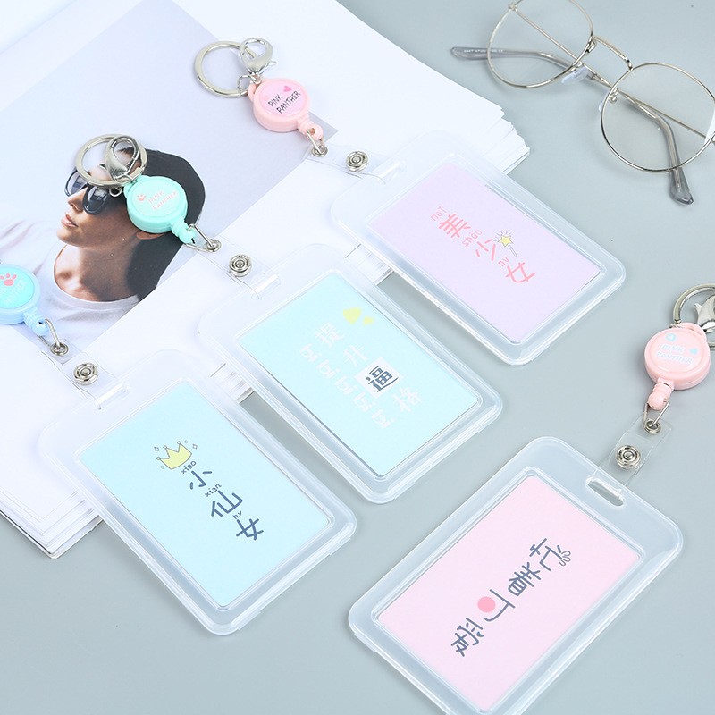 Elastic Rope PVC Transparent Card Holder Women Creative Bus ID Certificate  Card Case Cartoon Retractable Reel Badge Card Cover-in Card   ID Holders  from ... 2fdfafb714