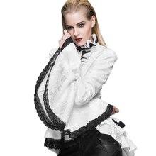 Steampunk Femmes de Manches Longues En Dentelle Blouse Noir Blanc Gothique Palais Fromal Cravate Chemise Plus La Taille Femelle D'hiver Top Blouses 2017