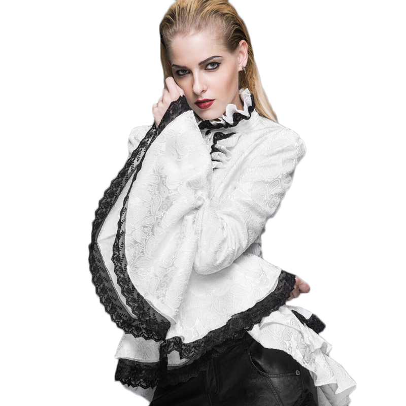 Steampunk Women s Long Sleeve Lace Blouse Black White Gothic Palace Fromal Tie Shirt Plus Size