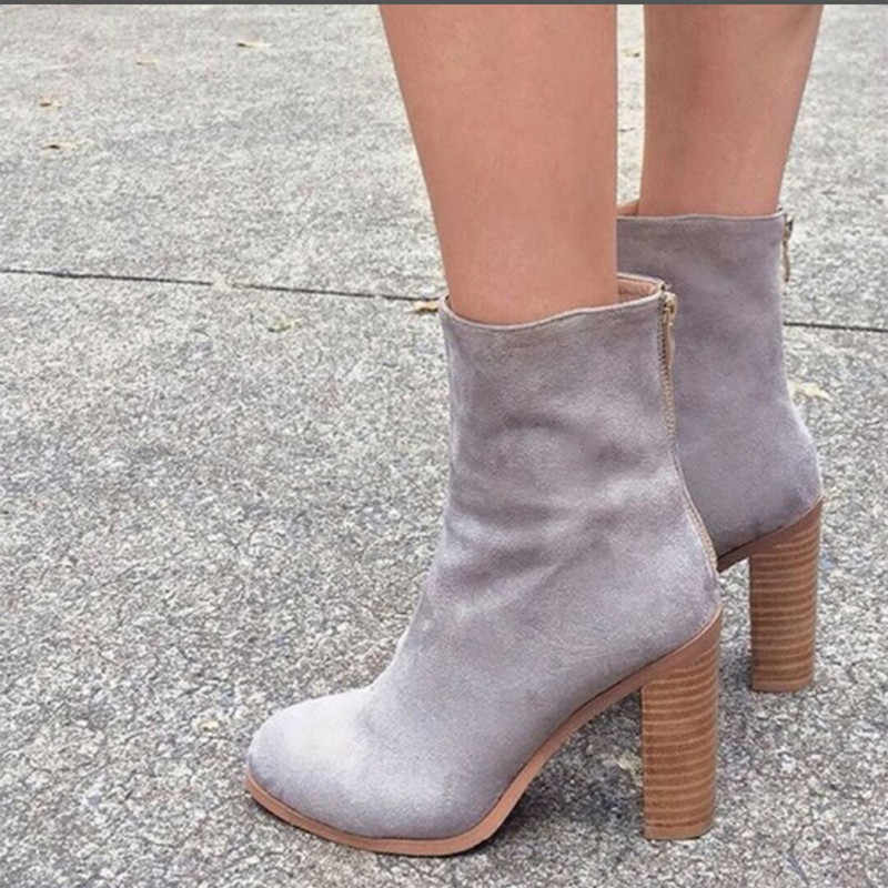 Fujin Brand Spring Winter Women Ankle Boots High Heel Flock Zipper Boots  Fashion Platform Round Toe Shoes  Lady Short Booties