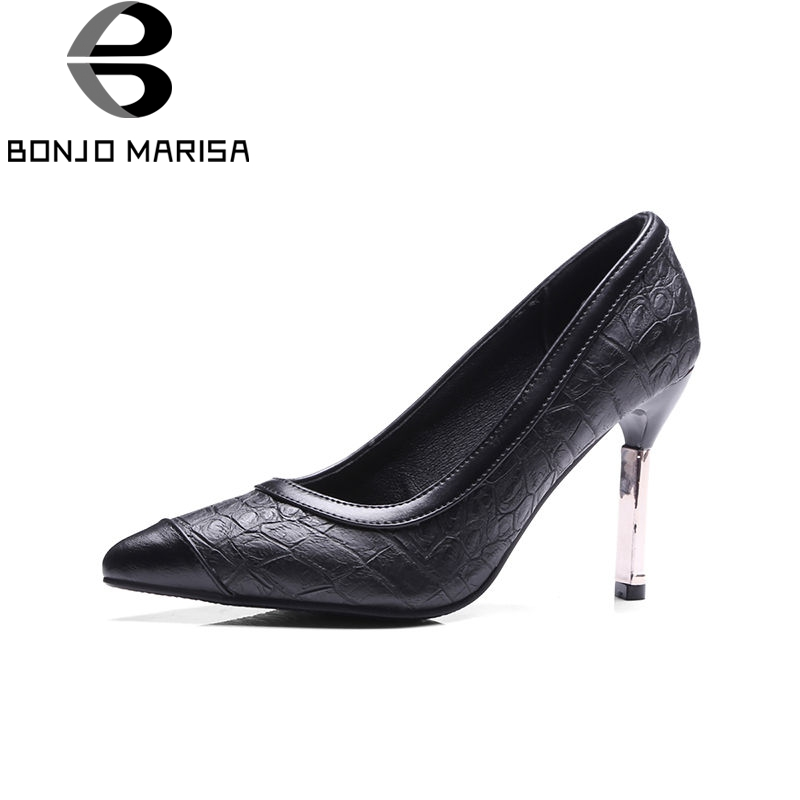 BONJOMARISA 2018 Spring Brand New Arrival Western Women Pumps Patchwork Shallow High Heels Shoes Woman Big Size 32-43