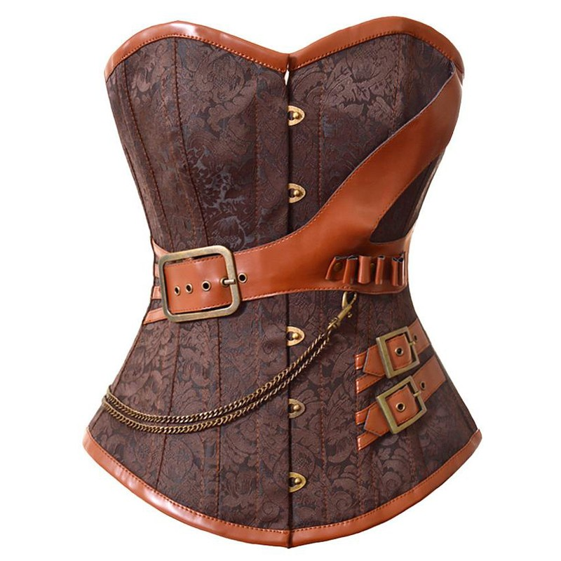 Plus Size 6XL Steampunk Corset Overbust Gothic Women Brown Brocade Corsets And Bustiers Slimming Waist Trainer Bustier Corselet