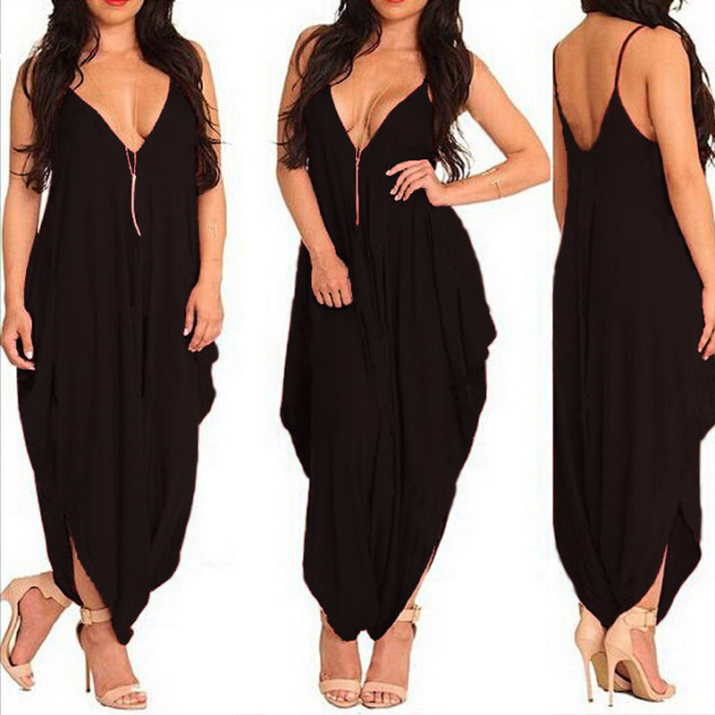 7512cd0fabf Sexy Deep V Backless Red Jumpsuit Women 2017 New Plus Size Summer Style  Rompers Womens Jumpsuit Loose Long Pants Rompers Overall-in Jumpsuits from  Women s ...