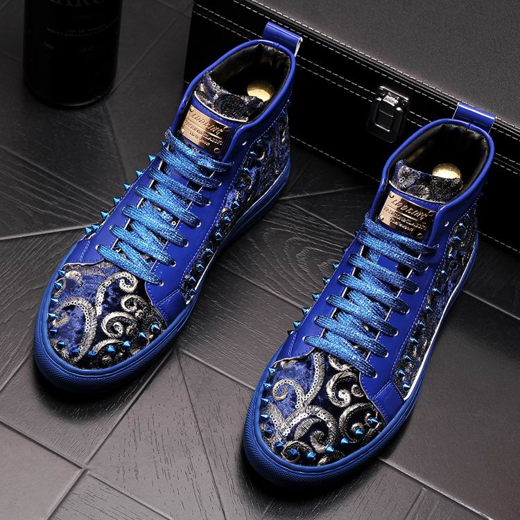 ERRFC Personalized Men Blue Casual Shoes High Top Fashion Metal Charm Embroidered Floral Rivets Shoes For