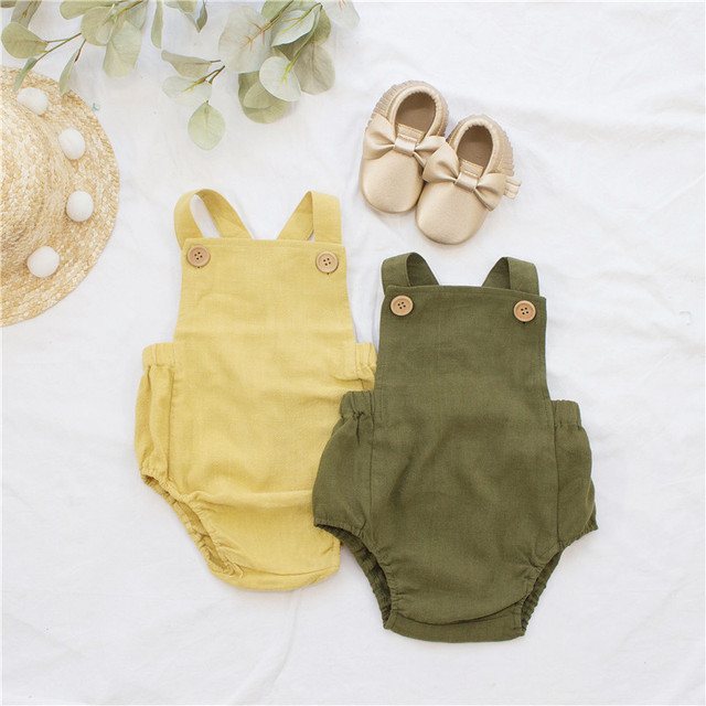 Baby Boys and Girls Linen Suspender Romper [9 color variations]