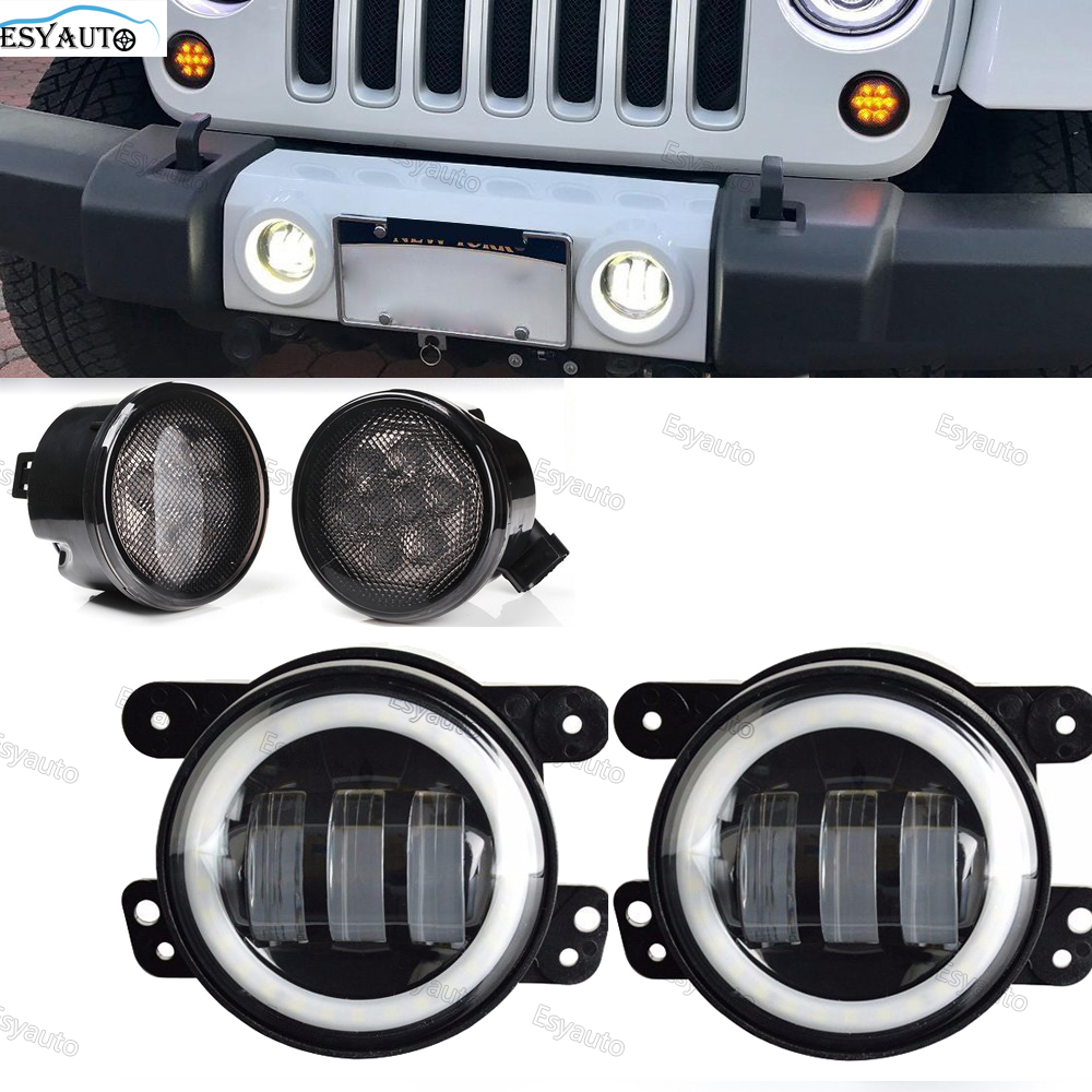 4 pcs/set 4 Inch LED Fog Lights White Angel Eyes + 3.5 Front Fender Flares Grill Turn Signal Lights for Jeep Wrangler JK 4pcs black led front fender flares turn signal light car led side marker lamp for jeep wrangler jk 2007 2015 amber accessories
