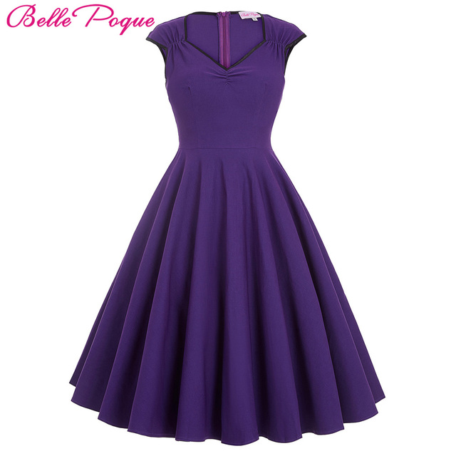 Women Dress 2018 Robe Vintage 1950s 60s Rockabilly Swing Summer Dresses  Jurken Sexy V Neck Casual Purple Blue Tunic Vestidos db442c8a9ef4