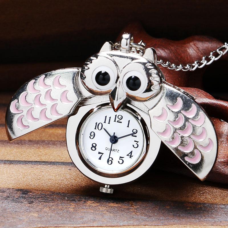 Unique Vintage Bronze Antique Fashion Alloy Vivid Owl Pocket Watches Pendent Necklace Free Shipping